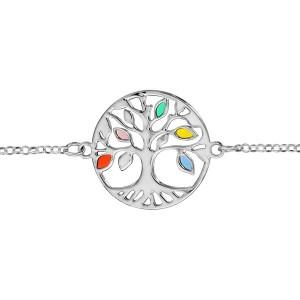 Bracelet argent Arbre de vie ajouré résine couleur