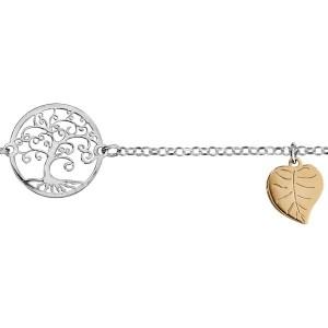 Bracelet argent Arbre de vie feuilles dorées