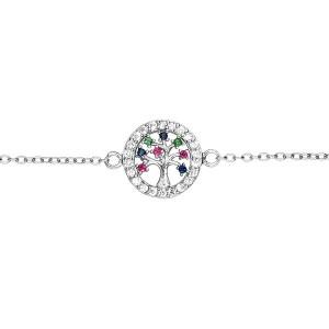Bracelet argent Arbre de vie oxydes zirconium couleurs