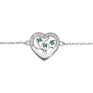 Bracelet argent Arbre de vie coeur oxydes zirconium verts