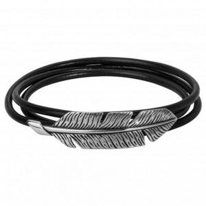 Bracelet Acier Legend feuille vintage cuir