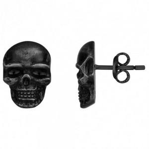 Boucles d'oreille Acier Tête de mort pvd noir