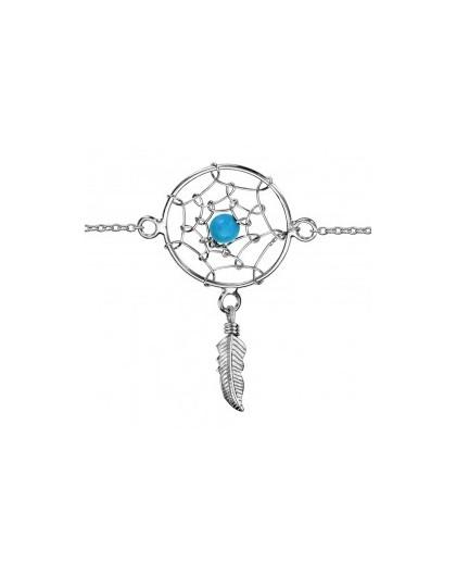 Bracelet argent Attrape rêves turquoise synthèse