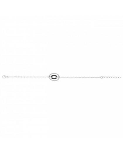 Bracelet Argent Double motif ovale sertis noirs