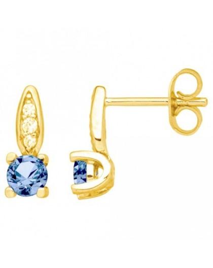 Boucles oreilles puces oxyde zirconium bleu