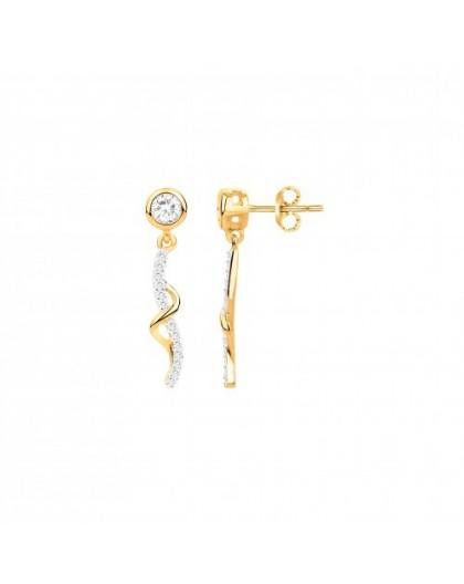 Boucles oreilles plaqué or pendantes oxyde zircon