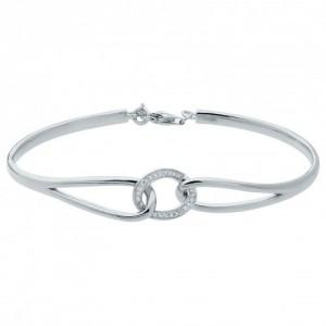 Bracelet Jonc argent rhodié et zirconiums