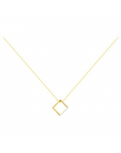 Collier plaqué or motif carré pendant oxydes