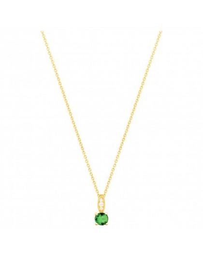 Collier plaqué or oxyde zirconium vert 4 griffes