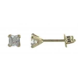 Boucles oreilles Or oxyde carré 3mm