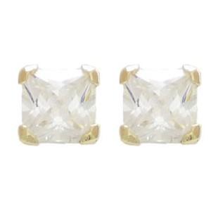 Boucles oreilles Or oxyde carré 4mm