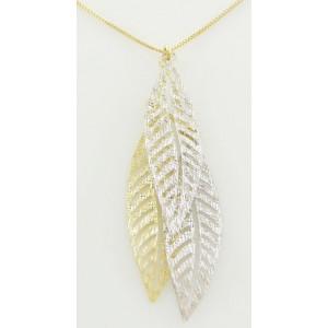 Collier or triple feuilles bicolores ajourées