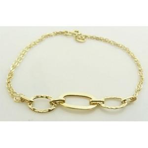 Bracelet or double chaine motifs martelés
