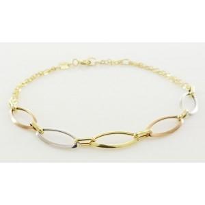 Bracelet or double chaine motif trois ors