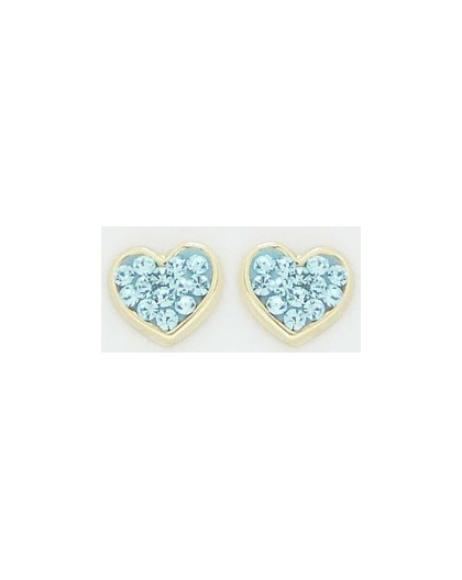 Boucles oreilles Or à vis coeur strass bleus