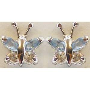 Boucles oreilles Or papillons oxydes couleur