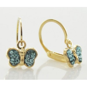 Boucles oreilles Or dormeuses papillons strass