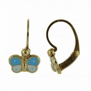 Boucles oreilles Or dormeuses papillon laque bleue