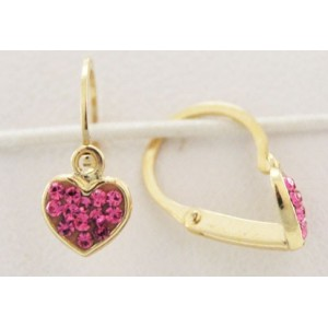 Boucles oreilles Or dormeuses coeur strass rose