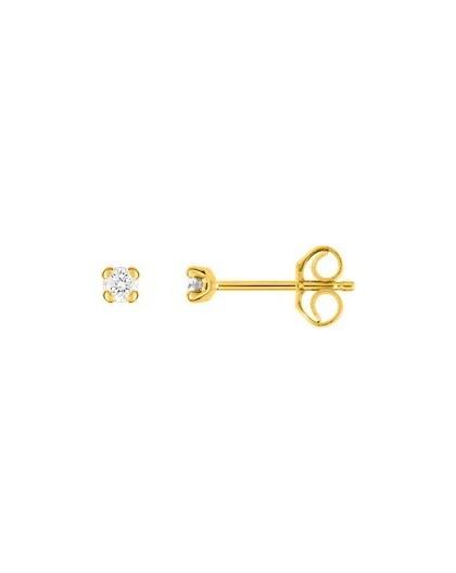 Boucles oreilles or jaune diamants 4 griffes 0.09 carat