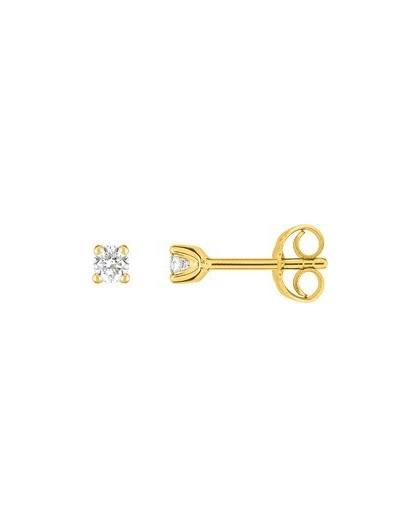 Boucles oreilles or jaune diamants 4 griffes 0.15 carat