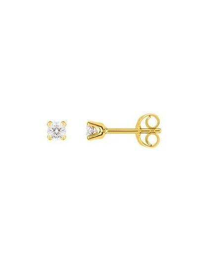 Boucles oreilles or jaune diamants 4 griffes 0.20 carat