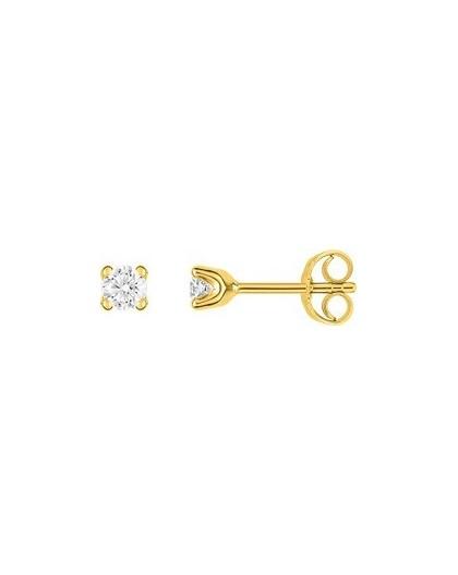 Boucles oreilles or jaune diamants 4 griffes 0.25 carat