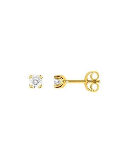 Boucles oreilles or jaune diamants 4 griffes 0.30 carat