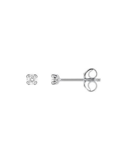 Boucles oreilles or gris diamants 4 griffes 0.09 carat