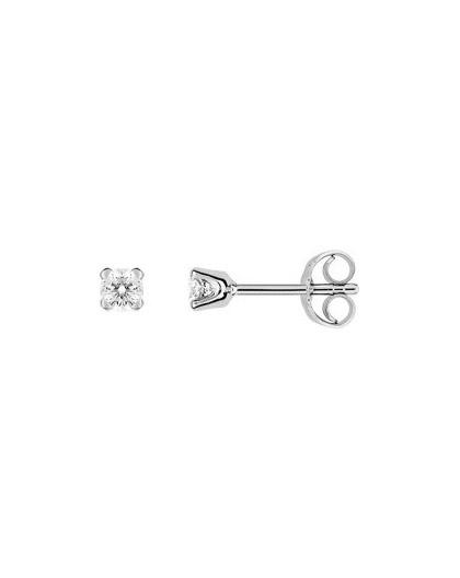 Boucles oreilles or gris diamants 4 griffes 0.20 carat