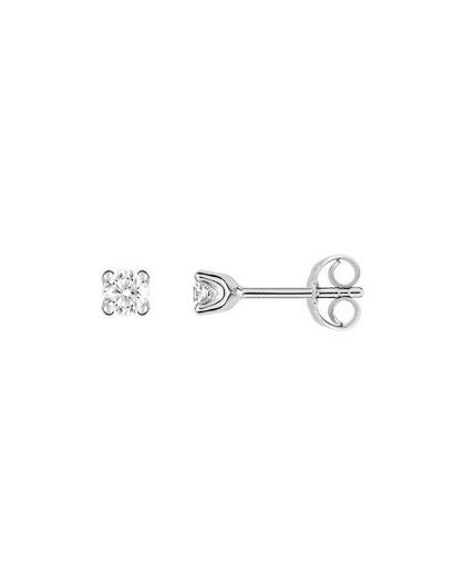 Boucles oreilles or gris diamants 4 griffes 0.25 carat