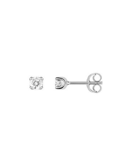 Boucles oreilles or gris diamants 4 griffes 0.30 carat