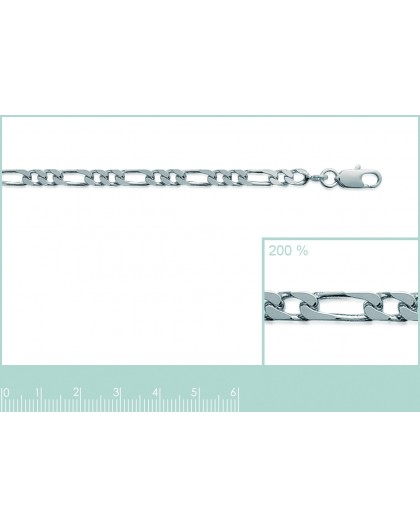Chaine argent maille figaro alternée 1+2 3.5mm
