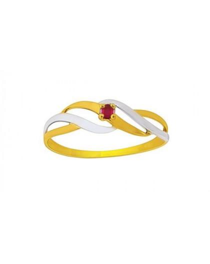 Bague or bicolore rubis 1,5 mm