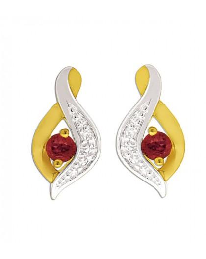 Boucles d'oreilles or et rubis volute bicolore