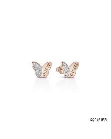 Boucles oreilles Guess UBE83022 papillon rosé