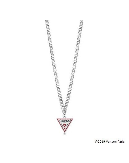 Collier Guess UBN29058 triangle logo argenté