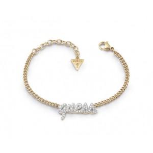 Bracelet Guess UBB10706A logo strass doré