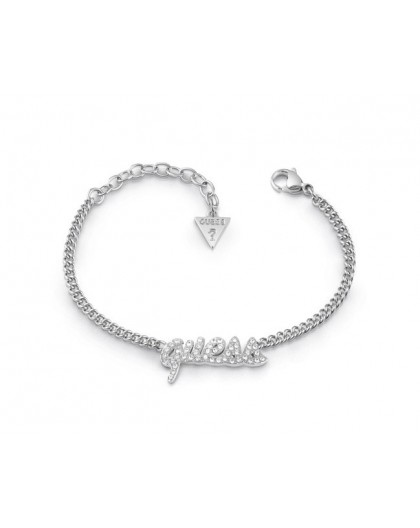 Bracelet Guess UBB10704A logo strass argenté