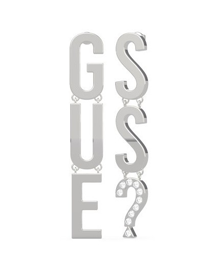 Boucles oreilles Guess UBE20002 lettres argentées