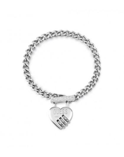 Bracelet Guess UBB20056-S cadenas coeur argenté