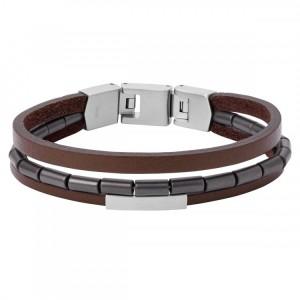 Bracelet Fossil Homme JF03131040 cuir marron