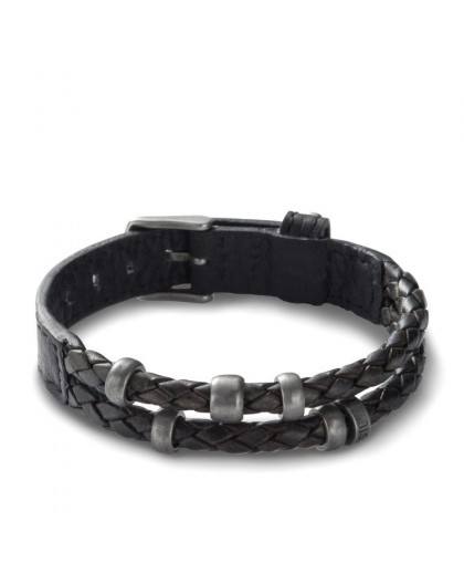 Bracelet Fossil Homme JF85460040 cuir noir