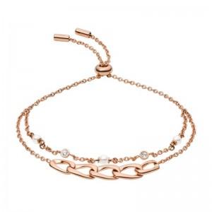 Bracelet Fossil femme JF03349791 multi liens rosé