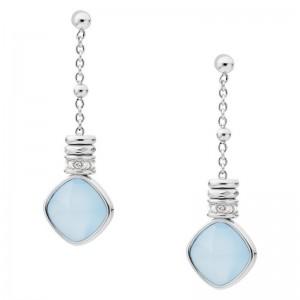 Boucles d'oreilles Fossil femme JF03353040 bleuté