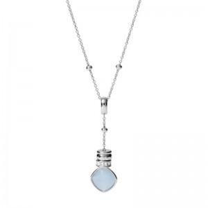 Collier Fossil femme JF03355040 breloque bleuté
