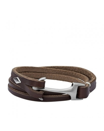 Bracelet Fossil JF02205040 homme cuir ancre