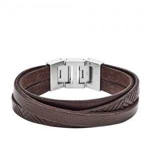 Bracelet Fossil JF02999040 homme cuir entrelacé