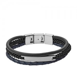 Bracelet Fossil JF03186040 homme cuir gravable