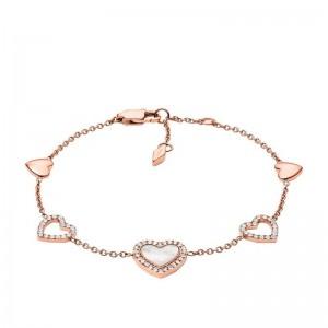 Bracelet Fossil JF03458791 femme coeurs rosé